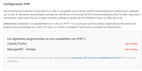 Errores de compatibilidad con PHP en WordPress