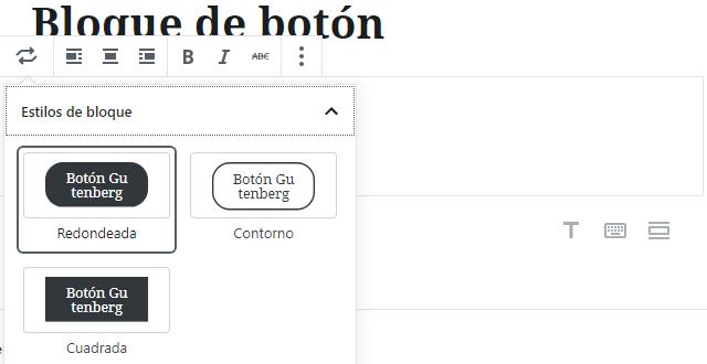 Bloque botón en Gutenberg