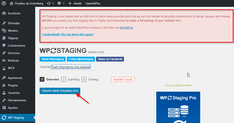 Clonar WordPress con WP Staging