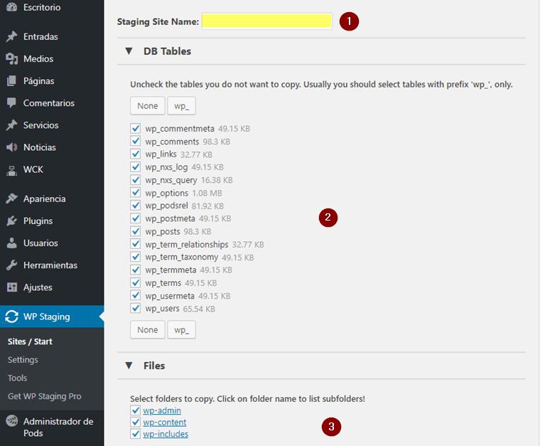 Configuración del clon de WordPress con WP Staging