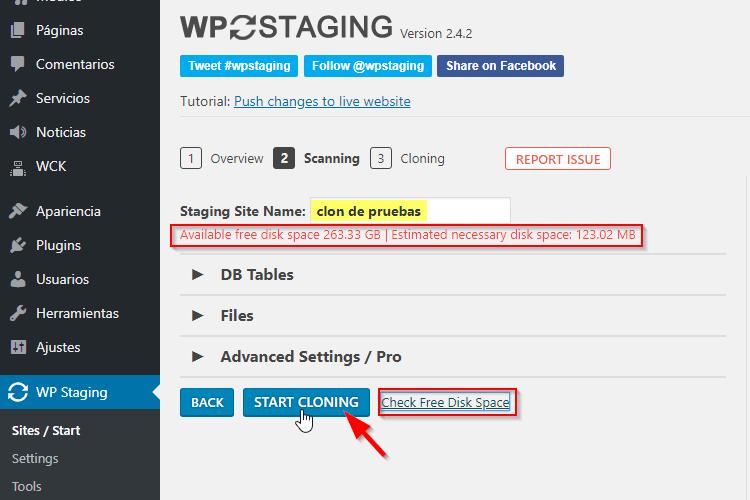 Comenzar a clonar WordPress