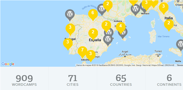 mapa de Wordcamp en el mundo