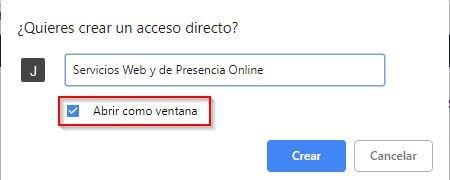 Acceso directo a una página web en el escritorio