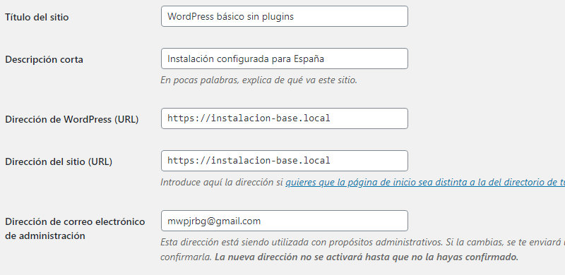 Ajustes generales de WordPress