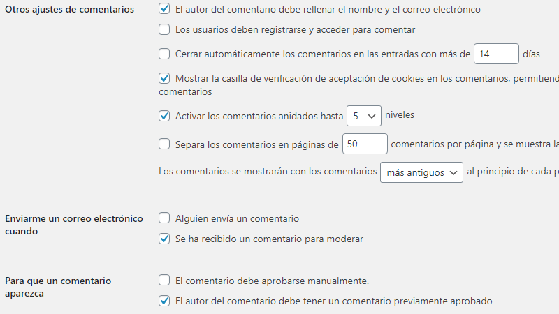 Otros ajustes de comentarios y de correo en WordPress